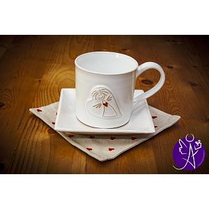 Andělský hrneček s talířkem a prostíráním - keramika 250ml