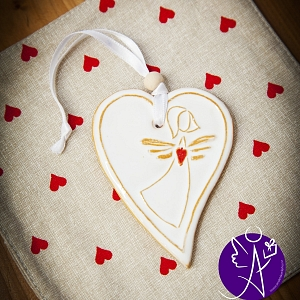 Srdce keramické závěsné 8 x 6 cm