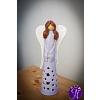 Vánoční svícen anděl vánoční jas 28 cm modrý