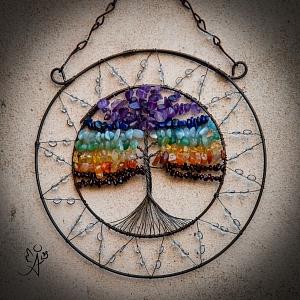 Drátovaný strom života - čakrový soulad 17 cm