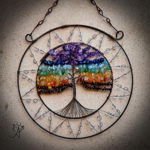 Drátovaný strom života - čakrový soulad z minerálů 17 cm