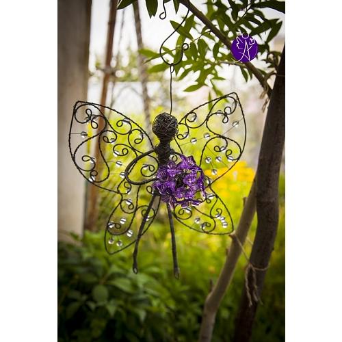 Drátěná víla andělka 26 x 21 cm