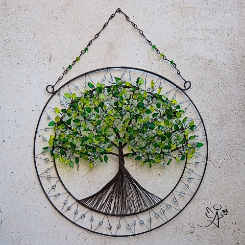 Drátovaný strom života - něžný příval energie 34 x 43 cm