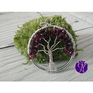Strom života přívěsek s granátem 3,5 cm