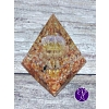 """Orgonitová pyramida """"Slunečné pohlazení"""" 6 x 6 cm Citrín, sluneční kámen, karneol"""