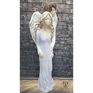 Andělská partnerská soška - štěstí a naděje 38 cm fialový