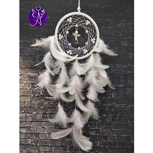 Lapač snů peříčkový - andělská jemnost 10,5 x 50 cm