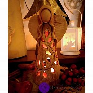 Vánoční svícen anděl - světlo z nebe 30 cm