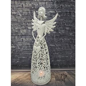 Svícen Andělské srdce bílý I. 28 cm, kovový