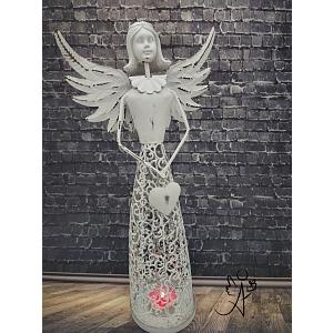 Svícen Andělské srdce bílý II. 35 cm, kov