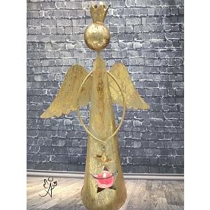 Vánoční svícen anděl s korunou a hvězdou 31 cm