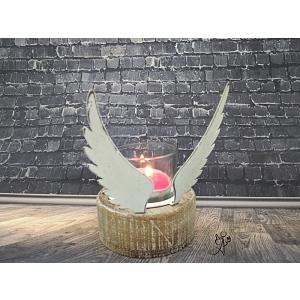 Svícen Křídla vánoc 11 cm, kovový
