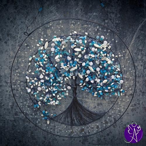 Drátovaný strom života - Modré nebe 53cm