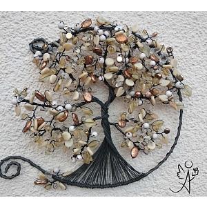 Drátovaný strom života otevřený - zlato ZE-MĚ s citrínem 22 cm