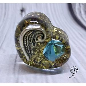 Orgonitové srdíčko andělské křídlo a modrý křišťál Preciosa  3 cm