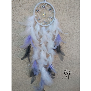 Lapač snů peříčkový - andělský léčitel 10,5 x 41 cm