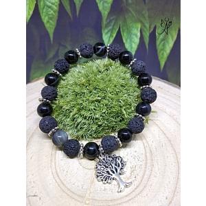 Náramek s přírodní lávou a pruhovaným achátem černý se stromem života