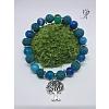 Náramek s přírodní lávou a pruhovaným achátem modrý se stromem života