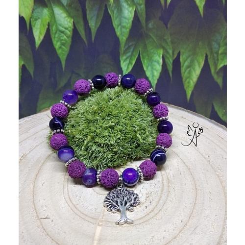 Náramek s přírodní lávou a pruhovaným achátem fialový se stromem života