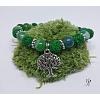 Náramek s přírodní lávou a pruhovaným achátem zelený se stromem života